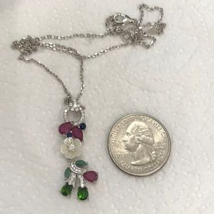 Real Ruby, Emerald & Chrome Diopside Necklace